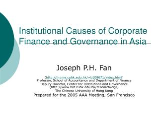 Institutional Causes of Corporate Finance and Governance in Asia