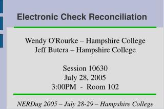 Electronic Check Reconciliation