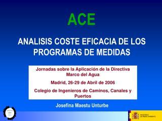 ANALISIS COSTE EFICACIA DE LOS  PROGRAMAS DE MEDIDAS