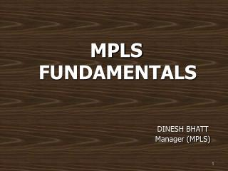 MPLS FUNDAMENTALS DINESH BHATT                                     Manager (MPLS)