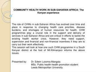 COMMUNITY HEALTH WORK IN SUB-SAHARAN AFRICA: The Kenyan experience
