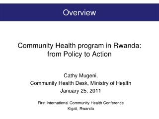 Community Health program in Rwanda: from Policy to Action