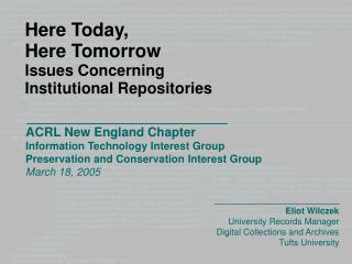 ACRL New England Chapter  Information Technology Interest Group