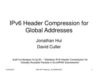 IPv6 Header Compression for Global Addresses
