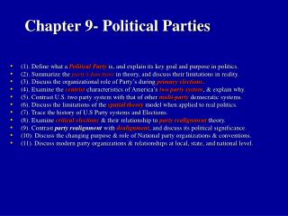 Chapter 9- Political Parties