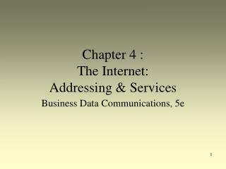 Chapter 4 :  The Internet:  Addressing & Services