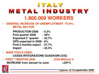 ITALY  METAL INDUSTRY