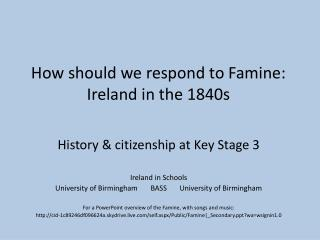 How should we respond to Famine: Ireland in the 1840s