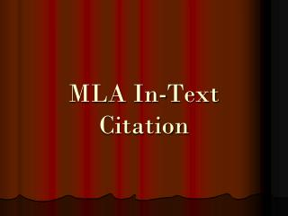 MLA In-Text Citation