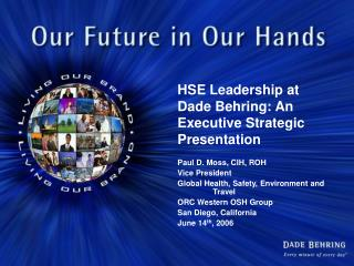 HSE Leadership at Dade Behring: An Executive Strategic Presentation