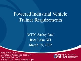Powered Industrial Vehicle Trainer Requirements