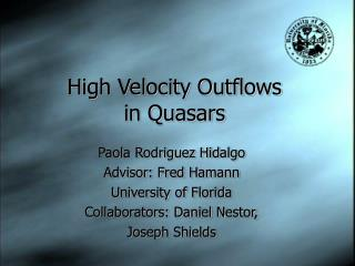 High Velocity Outflows  in Quasars