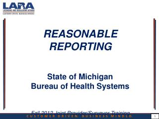 REASONABLE REPORTING State of Michigan Bureau of Health Systems