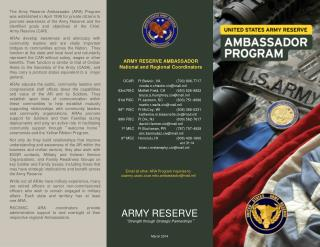 Email all other ARA Program inquiries to: usarmyarc.ocar.mbx.ambassador@mail.mil