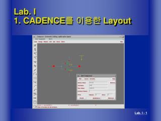 Lab. I 1. CADENCE 를 이용한  Layout