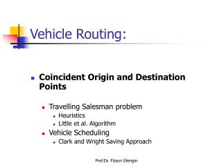 Vehicle Routing: