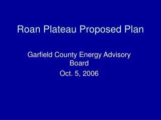 Roan Plateau Proposed Plan