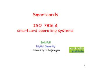 Smartcards ISO  7816 &  smartcard operating systems