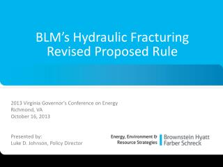 BLM's Hydraulic Fracturing  Revised Proposed Rule