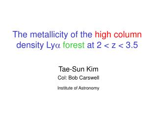 The metallicity of the  high column  density Ly a  forest at 2 < z < 3.5