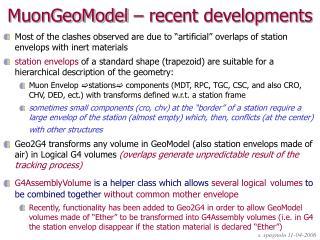 MuonGeoModel – recent developments