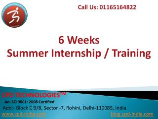 6 Weeks Summer Internship Training in Delhi
