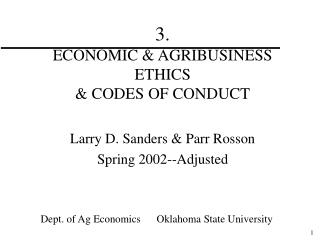 3.   ECONOMIC & AGRIBUSINESS ETHICS & CODES OF CONDUCT