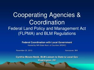 Federal Coordination with Local Government Hosted by WA State Assn. of Counties (WSAC)