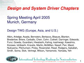 2005 Spring Deliverables