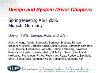 2005 Spring Deliverables
