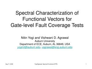 Spectral Characterization of Functional Vectors for  Gate-level Fault Coverage Tests