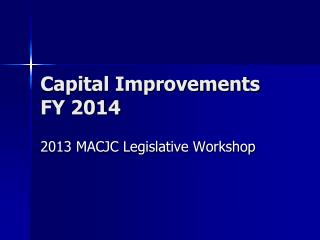 Capital Improvements FY 2014