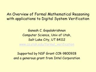 An Overview of Formal Mathematical Reasoning with applications to Digital System Verification