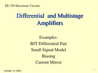 Differential  and Multistage Amplifiers