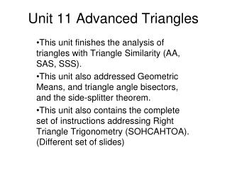 Unit 11 Advanced Triangles