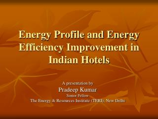 Energy Profile and Energy Efficiency Improvement in Indian Hotels