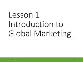 Chapter 1 An introduction to International business