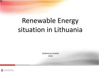 Renewable Energy situation in Lithuania