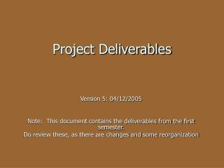 Project Deliverables
