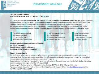 CALL FOR  STUDENT PAPERS :  PROCUREMENT WEEK 2013 ,  18 th March-22 nd March 2013