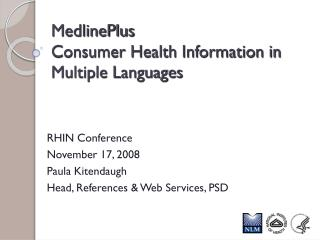 MedlinePlus Consumer Health Information in Multiple Languages