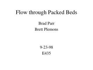 Flow through Packed Beds