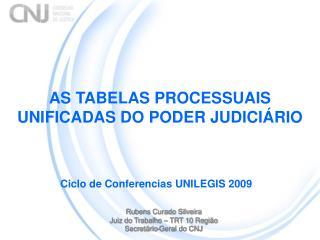 AS TABELAS PROCESSUAIS UNIFICADAS DO PODER JUDICIÁRIO