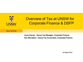 Overview of Tax at UNSW for Corporate Finance & DSFP