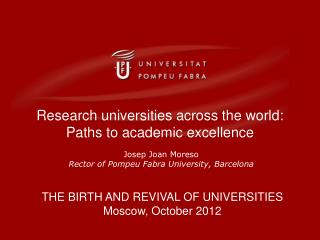 Research universities across the world: Paths to academic excellence
