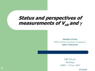 Status and perspectives of measurements of V ub  and  g