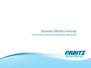 December 2009 SEO workshop