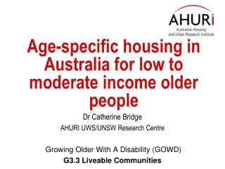 Age-specific housing in Australia for low to moderate income older people