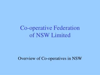Co-operative Federation  of NSW Limited