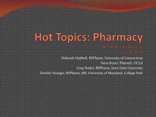 Hot Topics: Pharmacy ACHA Annual Meeting June 4, 2010